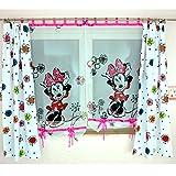 MB GMM-2 Disney Kindergardine für Mädchen/Kinder mit Motiv Minnie Mouse für Kinderzimmer/Mädchenzimmer / Vorhänge Pink Blumen