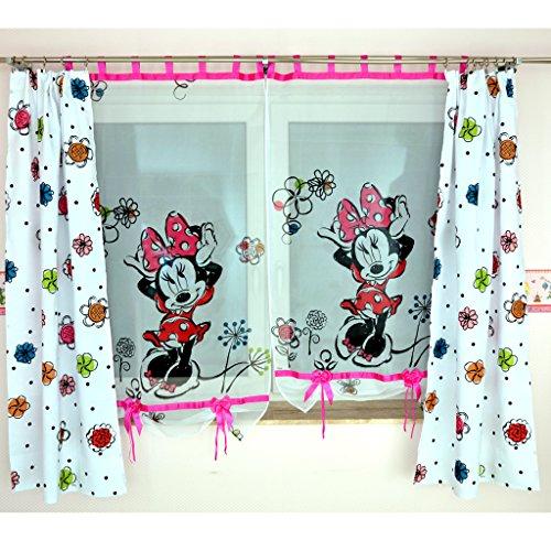 GMM-2 DISNEY Kindergardine für Mädchen / Kinder mit Motiv MINNIE MOUSE für Kinderzimmer / Mädchenzimmer / Vorhänge pink Blumen Rosa Geraffte Vorhänge