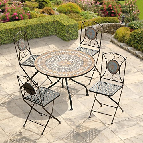 Naples Mosaic Bistro Set - Table & 4 Folding Chairs - Cast Iron - High Quality