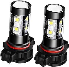 H16: Magideal 2X 50W 6000K Fog Driving Light Bulbs High Power Led Drl Conversion Kit - Black, H16