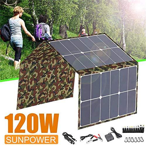 ZJY Pannello Solare Pieghevole da 120 W, Valigia da 12 V con Controller Dispositivo USB, accendisigari per Auto - per Camper Camper Cam