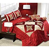 TIB 7 Pc Lycra Luxury Designer Wedding Bedding Set With Filled Cushions And Bolsters.