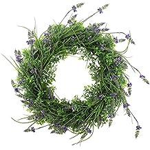 artplants.de Set 2 x K/ünstlicher Lavendelkranz auf Rattan violett Kunstlavendel Deko Kranz f/ür T/ür Tisch oder Wand /Ø 40cm