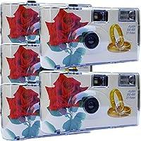 "5 x Photo PORST boda Cámara/cámara desechable ""Rosa Roja + anillos"" (con flash luz y pilas, por 27 fotos, ISO 400 Fuji)"