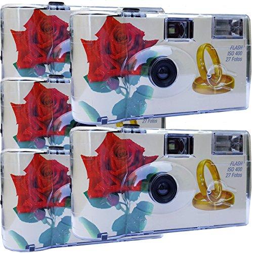"""5x PHOTO PORST Hochzeitskamera / Einwegkamera \""""rote Rose + Ringe\"""""""
