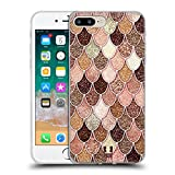 Head Case Designs Rose-Gold Meerjungfrau Waage Muster Soft Gel Hülle für iPhone 7 Plus/iPhone 8 Plus