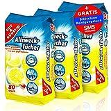 Feuchte Reinigungstücher Antibakteriell in Spenderverpackung 240 Stück - 3er Pack (Inhalt 3 x 80 Stück) - Mit frischem Zitronenduft
