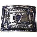Tartan City Uomo Fibbia Per Cintura Da Kilt Nodo Celtico 4 Curvi Specchio Design/Fibbia Cintura Kilt Celtica Arpa Irlandese Finitura Anticata