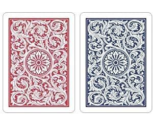 Copag 2-Deck Plastic Poker Playing Cards Set (1546 Red/Blue Design)