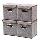 Aufbewahrungsbox mit Deckel, Stoffbox, Faltbox mit Deckel 4 Stück Leinen Stoff Faltbare Faltbox Korb Würfel Organizer Boxen Container Schubladen für Büro Schlafzimmer Shelf