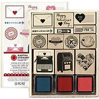 """Martha Stewart legno Martha Stewart Mounted Stamp Set Valentine 5 """""""" x 6,25 """", Love Notes"""