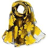 YFZYT Donna Moda Organza Morbida sciarpa Scialle Collo Avvolto Foulard, Anti-UV Sciarpa di Seta di Lusso di Colore Solido Imp