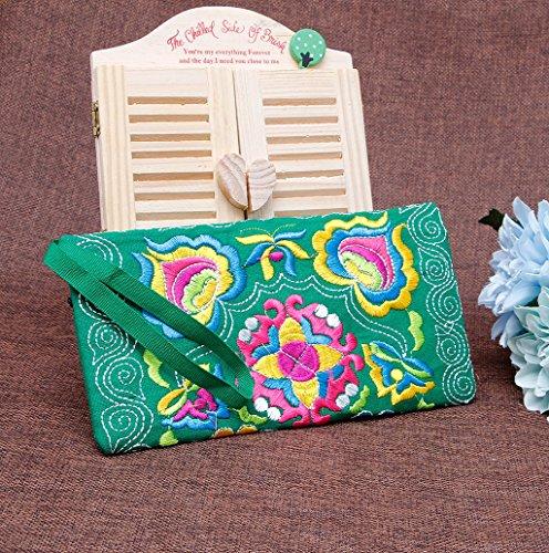 Dairyshop Portafoglio ricamato etnico Boho femminile Boho Portafoglio Handmade retro borsa del telefono (viola) verde