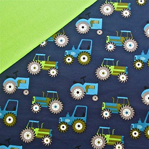 0,5x1,4m Jersey Trecker dunkelblau Traktoren & 0,5x0,7m Bündchen uni hellgrün Breite 70cm (Schlauchware 2x35cm) Muster-Mix 95% Baumwolle 5% Elastan
