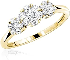 Silvernshine Jewels Diamante Trilogy in Pietra Fn 3 Oro Giallo 14K Anello Cluster Fiore per Donna 0.5Ct