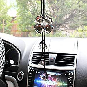 cogeek crystal four leaf clover interior accessories car charms pendants for auto rear view. Black Bedroom Furniture Sets. Home Design Ideas