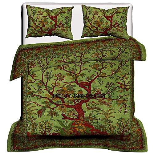 Indian Tree Of Life Baumwolle Queen Bettbezug Bettbezug Bohemian Hippie Tagesdecke Bettdecke handgefertigt Bettbezug mit Kissenbezug (grün) 203,2x 208,3cm, Bohemian Bettwäsche-Set, Boho Bettbezug mit Kissenhülle