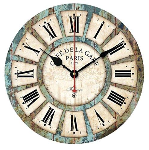 Relojes de pared Sannysis Despertadores electrónicos reloj de madera Estilo europeo (30cm diámetro)