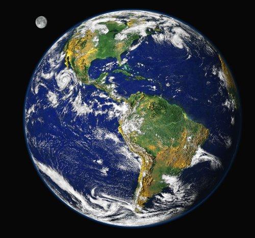 NASApete Weltkugel mit Mond, Globus, Erde, Erdkugel, Weltraumfoto, Fototapete Universum, Bildtapete, XXXL-Poster, 6 Bahnen, 279x260cm