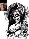 : Novu Ink Tattoo Artist Temporary Tattoo hand drawn waterproof transfer 'Lady Vengeance' design (21cm x 15.5cm)