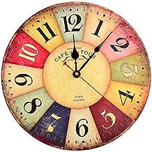 Orologio da parete,Hipsteen 12 Pollici Vintage Colorato Francia Parigi Tuscan Stile Arabo Numeri Design Silenzioso Legno Orologio Da Parete in legno