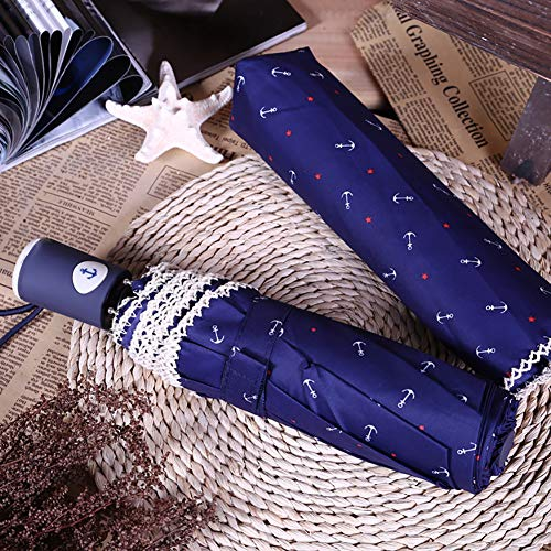 Sgsg Regenschirm Regen Einziehbarer Stabiler Kompakter Uv-Schutz Winddichter Sonnenschutz Falten Auto Open Regen Outdoor Tragbar Für Männer Kinder,Blue