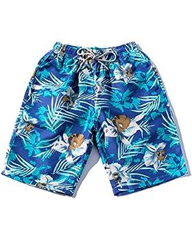 Zgsjbmh Pantalones de Playa de Secado Rápido Azul Respirable Impresión de Planta de Tronco Plano de Natación liviano...