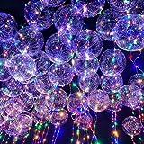 LEDMOMO Globos de fiesta 18 pulgadas globo transparente intermitente luz de color mezclado con alambre de cobre de 3m para la boda de Navidad de cumpleaños Decoración de fiesta de Halloween (rojo)