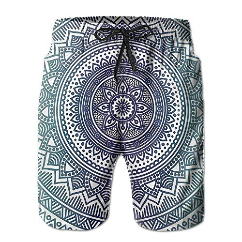 Azfaiop Round Mandala Floral Pattern Men Beach Shorts Swimming Trunks Quick Dry Board Trunks with Pockets XL