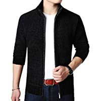 Allthemen Mens Knitted Cardigan Thick Sweater Full Zip Wool Stand Collar Cardigans Coat Fleece Lined Long Sleeve…