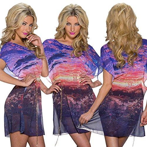 5765 Femme légère fashion4Young mini robe en chiffon fond de robe de soirée en mousseline de soie 3 g. Multicolore - Multicolore