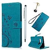 Badalink Hülle für Samsung Galaxy note 8 Blau Handyhülle Leder PU Case Cover Magnet Flip Case Schutzhülle Kartensteckplätzen und Ständer Handytasche mit Eingabestifte und Staubschutz Stecker