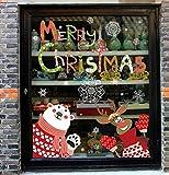 ZBYLL Pegatinas De Navidad Santa Claus Cartoon Cristal Diseño Pegatinas De Pared De Fondo