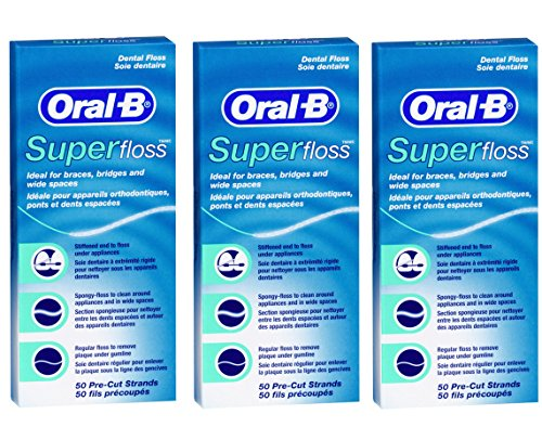 Oral B 50 Pieces Pre-Cut Super Floss - Pack of 3 Test