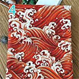 YOUMU Japanische Baumwolle Leinen Stoff Eule Ocean Wave