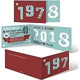 30 x Einladungskarten runder Geburtstag 40 Jahre Geburtstagseinladungen - Retro Geburtsjahr