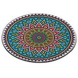 LB Indien,Mandala,Buddhismus,Blume_Rund Fläche Teppich Wohnzimmer Schlafzimmer Badezimmer Küche Bodenmatte Inneneinrichtung,120x120 cm