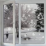 Fensterbilder ,Profer statisch haftende PVC-Sticker Schneeflocken Tannenbaum Hirsch Weihnachten Fenstertattoo Wandtattoo Schneeflocken - wiederverwendbar (Weiß)
