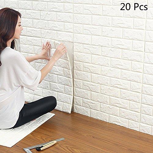 3D Wandpaneele Selbstklebend, YTAT 3D Ziegelstein Tapete, Ziegel Tapete, Brick Muster Tapete, Selbstklebend Steinoptik, Brick Pattern Wallpaper für Schlafzimmer Wohnzimmer Moderne tv Schlafzimmer Wohnzimmer Dekor , 60 * 60cm, Weiß(20)