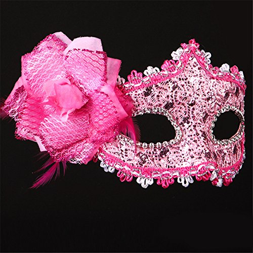Halloween Maske Lace Make-up Tanz Show Gemalte Federn Halbes Gesicht Schöne Prinzessin Masken,Pink (Für Halbe-gesicht Halloween-make-up Jungs)