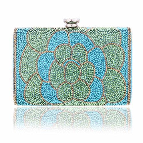 Damara Sac de Soirée Pochette pour Femme Synthétique Elégant Raffiné Strass de Fleur bleu clair