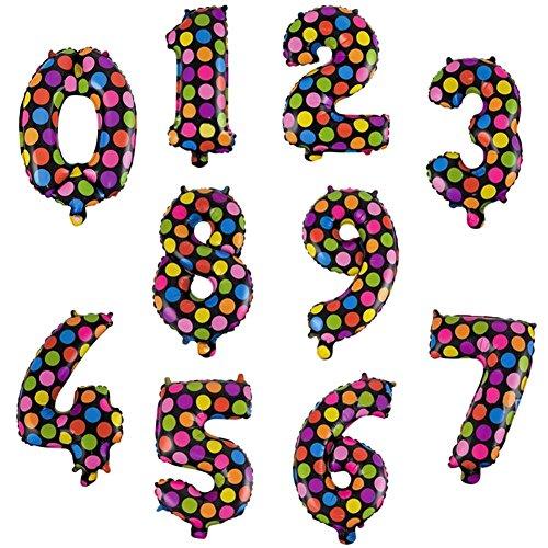 Digital Verzierungen (drawihi 10pcs Luftballons Folienverpackung 0–9Zahlen Luftballons Ballon-Digital-Punkt-Verzierungen der Hochzeit Geburtstag)