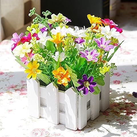 Lx.AZ.Kx La lavanda Margaritas valla de madera Emulación Kit de flores Flores artificiales En Maceta pequeña Green-Shik Escritorio decorado con flores.I, secc. A).