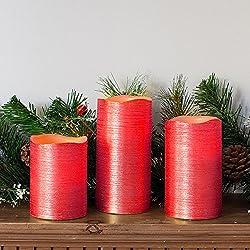 3 Pcs Real Wax Led Flickering Candles Lights Dancing Flameless Vanilla Red