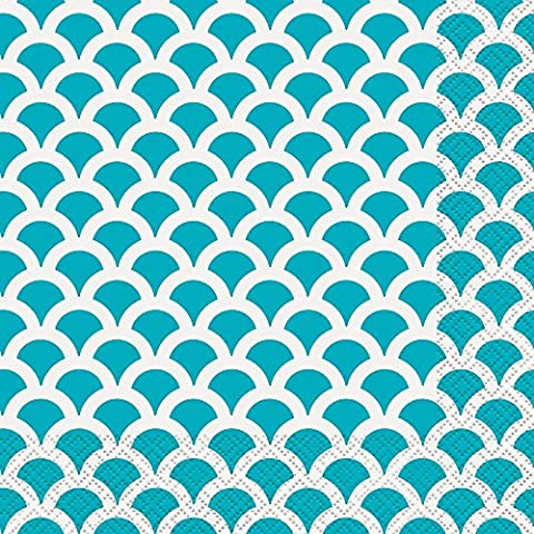 Teal & White Scallop Print Paper Napkins, Pack of 16