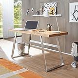 Pharao24 Schreibtisch mit Massivholzplatte Metall