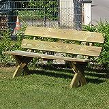 Gartenpirat Rustikale Gartenbank 3-Sitzer aus Holz massiv wetterfest