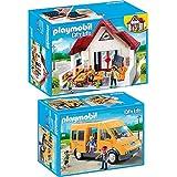Playmobil 6865 + 6866 City Life 2er Set - Schulhaus und Schulbus