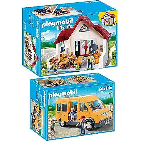 PLAYMOBIL® set en 2 parties 6865 6866 École + Car de Ramassage Scolaire