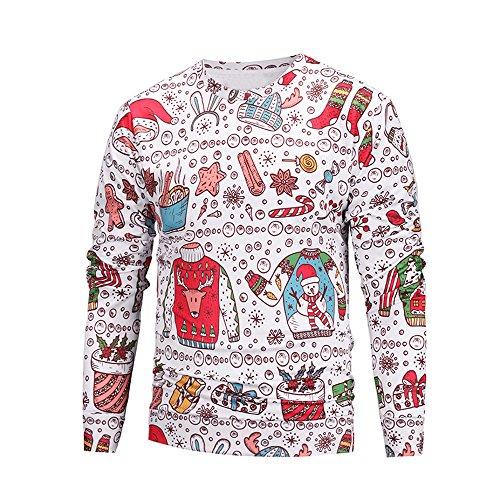 Unisex Weihnachtspullover, Elecenty Paar Pullover Bedruckter Sweatshirt Freizeit Hoodies Warm Langarmshirt Crewneck Outwear Top Sweatshirts Comfortblend Fleece Pullover Hoodie